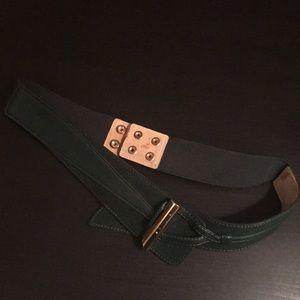 WHBM dark green suede belt